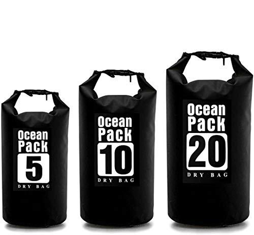 NewDreamWorld Bolsas secas impermeables con cierre de cremallera y correa de hombro ajustable desmontable para flotar, buceo, camping, natación (3 unidades)