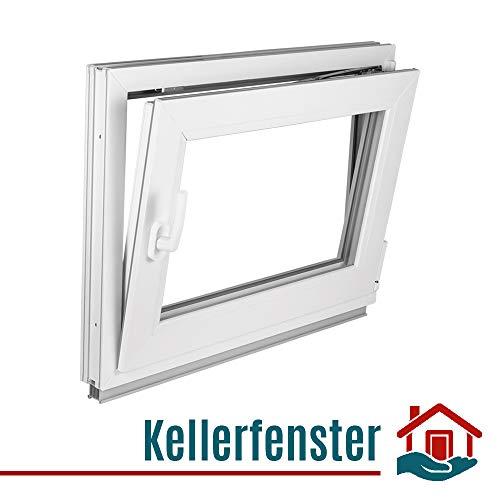 Premium Kunststofffenster Von Komforta - Kellerfenster Weiß BxH 500 x 500 mm - Garagenfenster/Gartenhaus Fenster BxH 50 x 50 cm 2-fach Verglast - Din Links-Funktion Dreh Kipp Fenster-Alle Größen