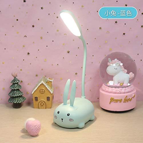 WHBGKJ Luz de Noche Cerdo Conejo de Dibujos Animados del Gato Alces USB de la lámpara de Tabla Recargable LED de luz de la Noche iluminación (Body Color : Blue Rabbit)