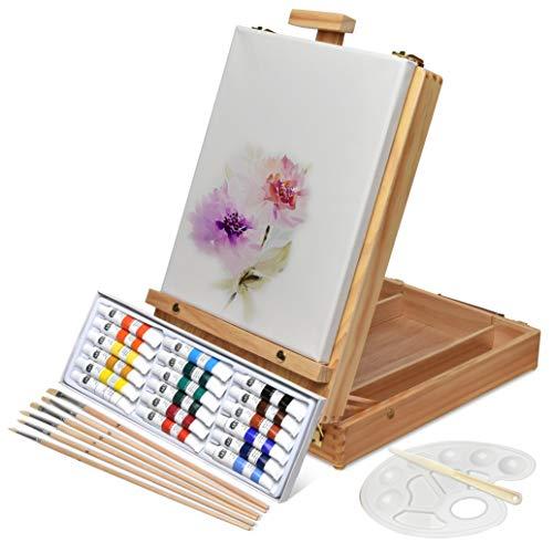 Artina Florenz set de pintura de 28 piezas caballete maletín de mesa para...