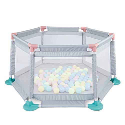 Seciie Spielplatzzaun für Kinder, Baby Laufgitter Bällebad Netz Baby Absperrgitter mit 10 bunten Bällen, 6 Eckig