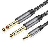 [5M]Cable mono de 3,5 mm a 6,3 mm, POSUGEAR de 1/4 a 1/8 pulgadas macho a macho, divisor de audio de nailon trenzado y cable chapado en oro, cable de instrumento de guitarra, amplificador