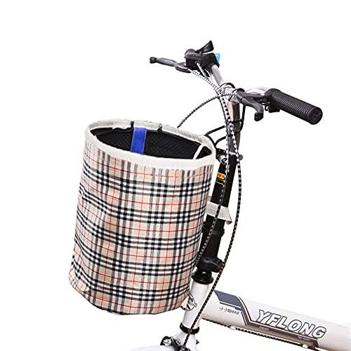 1 Pcs Cesta Bicicleta Plegable, Cesta de Bicicleta Delantera, Cesta para Manillar de Bicicleta con Gancho para Mascotas Pequeñas, Compras de Comestibles, Camping al Aire Libre, Picnic(Beige)