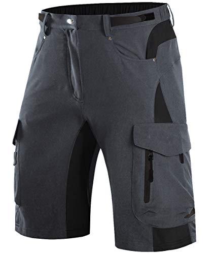 Wespornow Pantaloncini Mountain Bike Uomo-Asciugatura Rapida Pantaloncini MTB Uomo-Traspirante-Pantaloni- Antibatterica-Bici MTB-Shorts per Ciclismo da Corsa All'Aperto (Grigio Scuro, S)