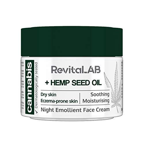 RevitaLAB - Crema facial emoliente de noche con extracto de cánnabis y aceite de semilla de cáñamo ecológico para una hidratación intensa, testada dermatológicamente en pieles sensibles, 50 ml