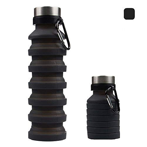 Bouteille d'eau Pliable en Silicone et Portable 800ml sans BPA pour les Activités Extérieures, Sport, Voyage, Camping, Randonnée, Yoga, Gym, Cyclisme - (BLUE - ORANGE)