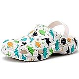 VILOCY Kids Classic Clogs Boys Girls Home Garden Slip On Water Shoes Dinosaur White,2-2.5 Infant 18