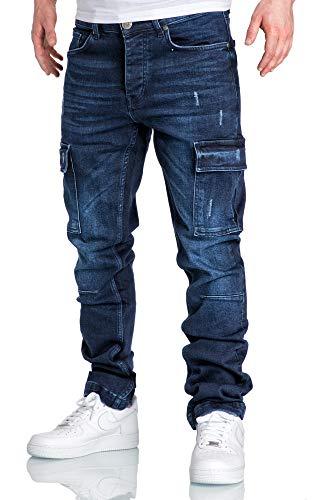 Amaci&Sons Herren Cargo Jeans Regular Slim Denim Hose Destroyed 7985 Dunkelblau W34/L34