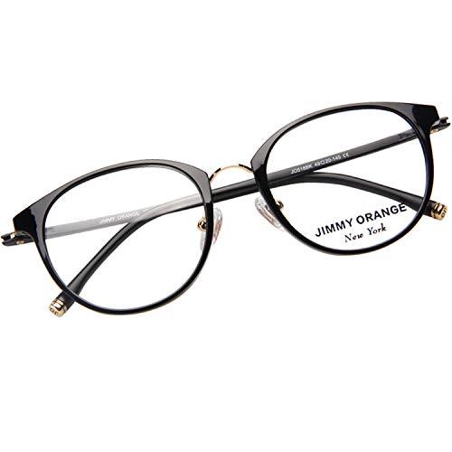 JIMMY ORANGE伊達メガネ 軽量 度なし 眼鏡 フレーム メガネフレーム 記憶形状性能 TR90 ボストン ファッション おしゃれ レディース メンズ メガネ J518 ブラック