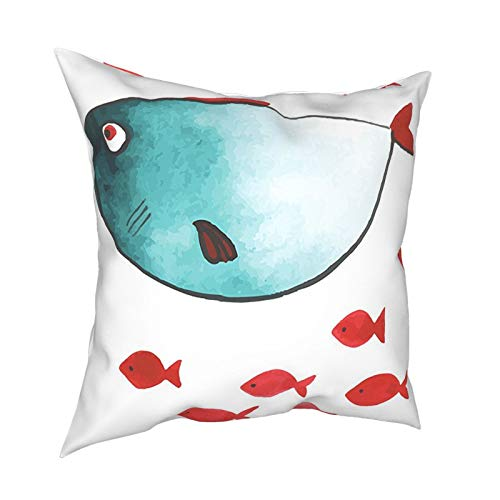 """Ocean Animal Decor Cute Chubby Fish with Little Underwater Aquatic Life Kids Nursery Theme Blue Red 12""""X12"""" 16""""X16"""" 18""""X18"""" 20""""X20"""" Pillow- No Inserts Included"""