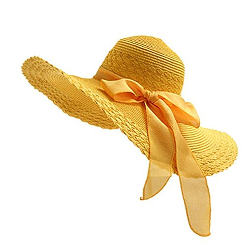 Drawihi Damen Sonnenhut Sommerhut UV-Schutz Hüte Wide Rand Strandhut Mützen Strohhut (Gelb) 56-58 cm
