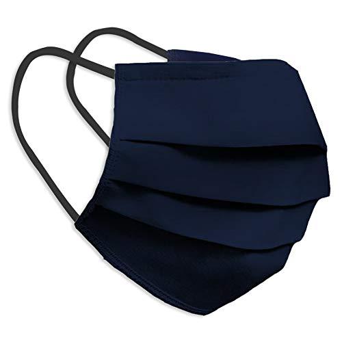 Behelfsmaske Alltagsmaske Community-Maske - Farbe dunkelblau - mehrfach verwendbar (waschbar) - mit Nasenclip - Behelfsmundschutz Mundbedeckung Spuckschutz