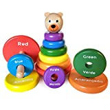 KIDS KORNER Bilingual Wooden Bear Stacker - Educational Stacking Toys for 1 Year Old | Learn Rainbow Colors in English & Spanish | Baby Toys & Toddler Games Learning Activities Ebook