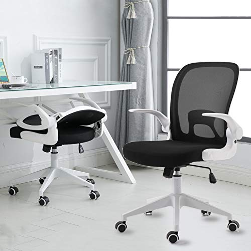 IPKIG Ergonomic Office Chair - Home Office Desk Chairs with Wheels and Flip-Up Arms - Foldable Backrest Mesh Computer Chair with Lumbar Support (White)