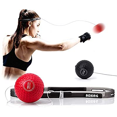 TEKXYZ Boxing Reflex Ball, 2 Difficulty Level Boxing Ball with Headband, Softer Than Tennis Ball, Suit for Reaction, Agility, Punching Speed, Fight Skill and Hand Eye Coordination Training
