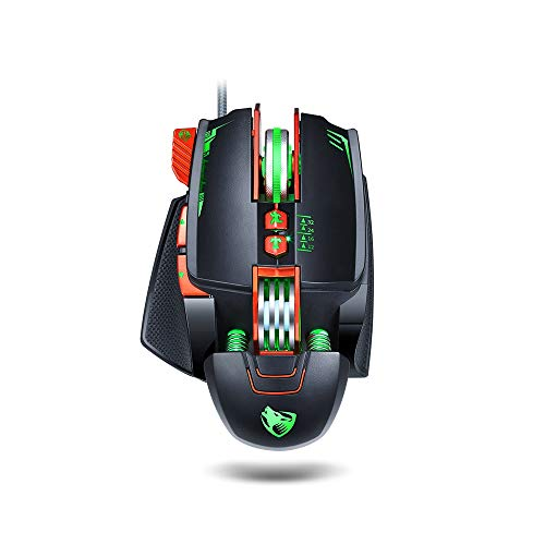RGB Wired Gaming Mouse, Backlit Ergonomic Optical Mice, Adjustable Wrist Support and Counterweight, 3200DPI Computer Mouse with Special Gaming Side Button for PC Laptop Games & Work