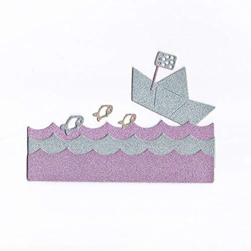 WOZOW Stanzschablone Scrapbooking Süß Prägeschablonen Schablonen Stanzmaschine Stanzen Stanzformen, Zubehör für Halloween Dekor Grußkarte (G Boot im Wasser)