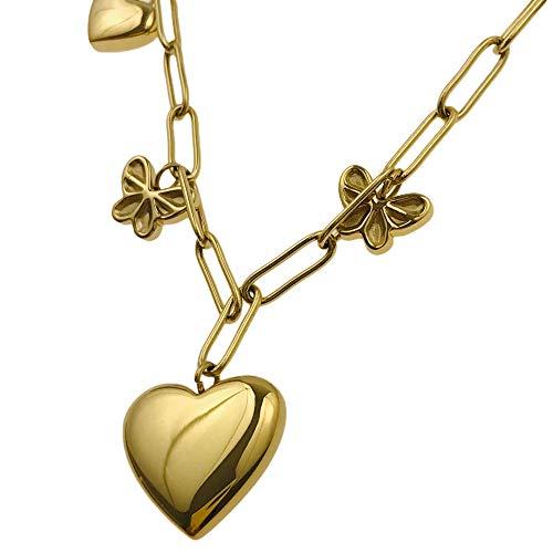 Collar famoso Bluebry 20100130/23 para un regalo, corazón de mariposas, chapado en oro hipoalergénico, de acero inoxidable quirúrgico AISADI TTM XUPING MOONRIVER STAINLESS STAINLESS STEEL SUNLIGHT