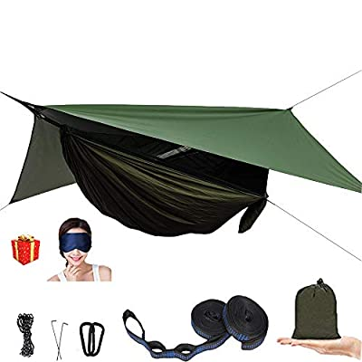 Camping Hammock with Mosquito Net and Rain Fly - Double Hammock Bug Net - Tree Hammock Tent for Outdoor Hiking Campin Backpacking Travel… (Army Green)