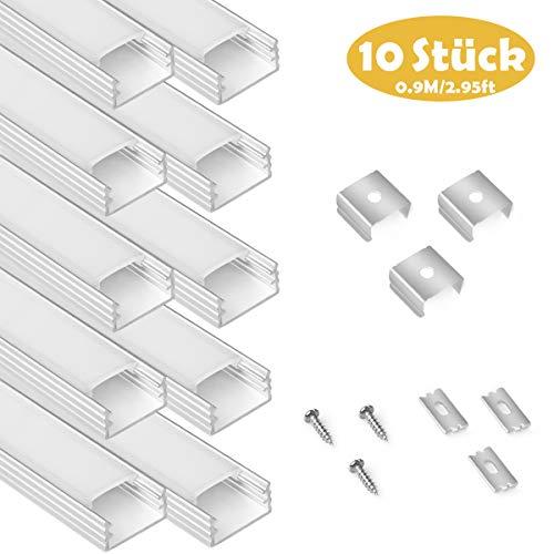 LED Aluminium Profil für LED Stripes, 90cm Aluprofil LED Streifenlicht, 10er-Pack Aluminiumkanäle mit komplettem Montagezubehör (Abdeckungen in milchig-weiß für LED Stripe/Streifen)