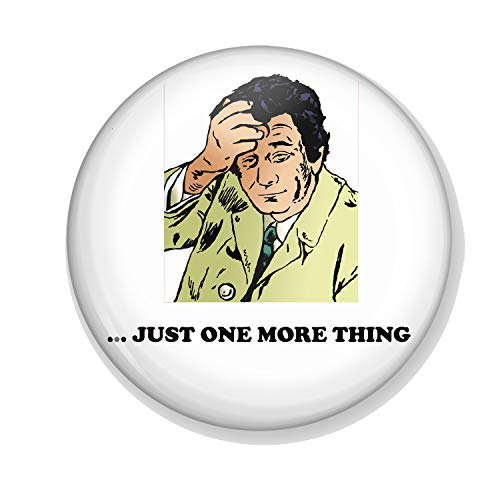 Gifts & Gadgets Co Columbo Just One More Thing Cartoon Badge 25 mm Schmetterling Clutch Pin Rückseite rund