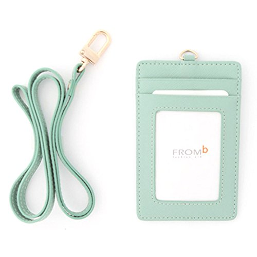 Leather Slim Credit Card Holder Id Card Case Holder Useful Purse with Neck Strap (Mint)