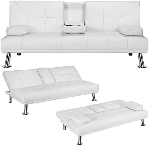 YAHEETECH Futon Sofa Bed Sleeper Sofa Modern Faux Leather Futon Convertible Sofa with Armrest product image