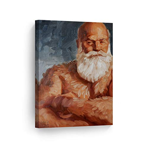 Smile Art Design Furry Santa Fantasy Bear by Kenney Mencher Canvas Print Old Muscular Man Portrait Oil Painting LGBT Half Nude Gay Art Living Room Decor Bedroom Wall Art Ready to Hang - 28x19