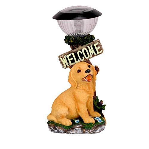 Ybzx Estatua de Perro de jardín, Perro Artificial, Escultura al Aire Libre, Signo de Bienvenida, lámpara de Ahorro de energía, luz Solar