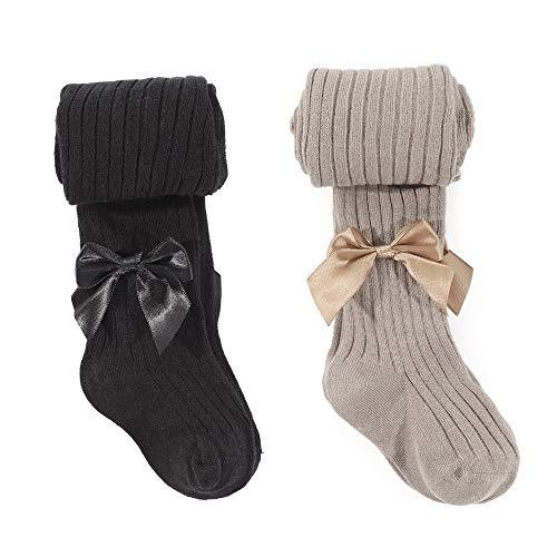 MK MATT KEELY 2 Pack Meisjes Katoen Rijke Gebreide Panty voor School Thermische Panty Sokken Uniform Leggings Kousen voor Kinderen Leeftijd 1-12 Jaar