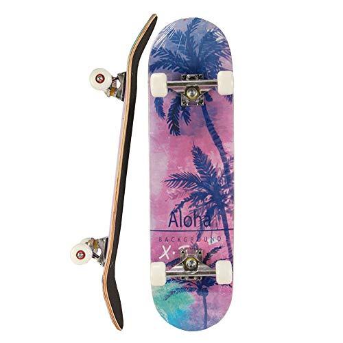 skateboard 7.75 Fuxiang Skateboard Adulto 7.75  x 31  Completo Cruiser Skateboard Legno per Principianti Giovani Adulti Acero Double Kick Deck Tavola da Skate Vintage Longboard Regalo di Compleanno Viola