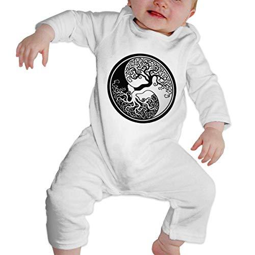 maichengxuan Babyspielanzug Tree of Life Yin Yang Baby Kletterbekleidung Baby Langarm Kleidungsstück Unisex Design Looks Great On Newborn Black