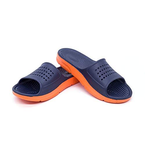 URIBAKY - Pantofole traspiranti da interni estivi, con suola morbida, antiscivolo, da bagno a casa, (Blu scuro), 43 EU