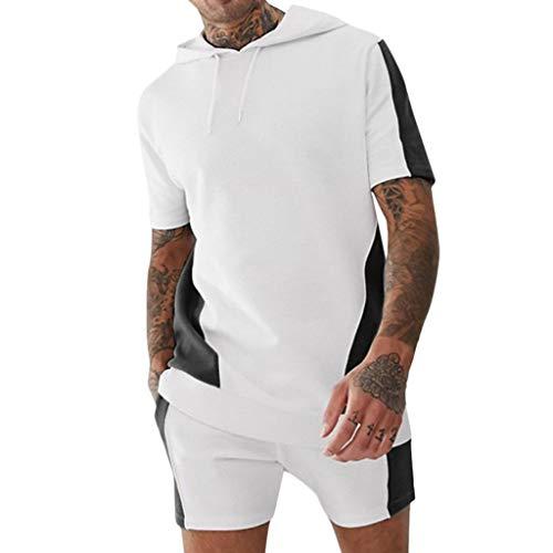 Yowablo Ensembles Fitness Vêtements De Sport Entraînement Deux pièces avec Bloc Couleur pour Sports Poche Chemise (XXL,Noir)