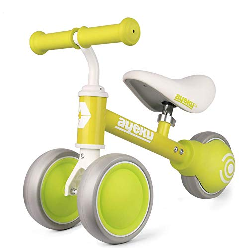 AyeKu Baby Balance Bike, Toddlers Bikes for Age 10-24 Months no Pedal Bike Best Toys for 1 Year Old Present for Boys & Girls with Comfortable Adjustable seat in 3 Wheels