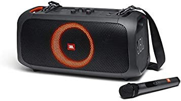 JBL PartyBox On-The-Go - A Portable Karaoke Party Speaker with Wireless Microphone, 100W Power Output, IPX4 splashproof,...
