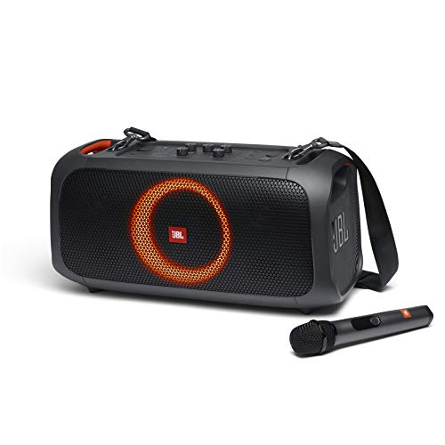 JBL PartyBox On-The-Go - A Portable Karaoke Party Speaker with Wireless Microphone, 100W Power Output, IPX4 splashproof, 6 Playtime Hours, Shoulder Strap and Wireless 2 Party Speakers Pairing (Black)