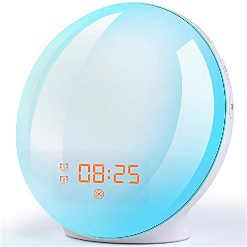 Wake Up Light Sunrise Alarm Clock, 7 Colors Bedside Night Light with...