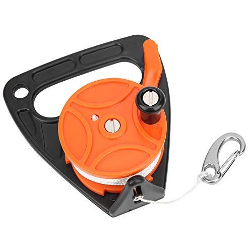 Wosune Carrete de línea de Buceo Combinado de Cuerda PP de 150 pies, Carrete de Buceo de 150 pies, posición de Tarjeta de plástico ABS + para Buceo a la Deriva Buceo Submarino/Equipo(Orange)