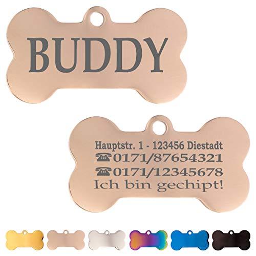 Iberiagifts - Hundemarke Knochen aus Edelstahl in verschiedenen Farben mit Gravur für mittelgroße bis große Hunde und Katzen - Plakette graviert und personalisiert (Rosa Gold)