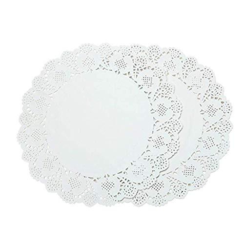 APCHY Kant Tafelkleed Papier Decoratieve Ronde Placemats In Bulk Cake Box Voering Taarten Desserts Bak Verwerking Display Ideaal Voor Bruiloften (2 stuks)