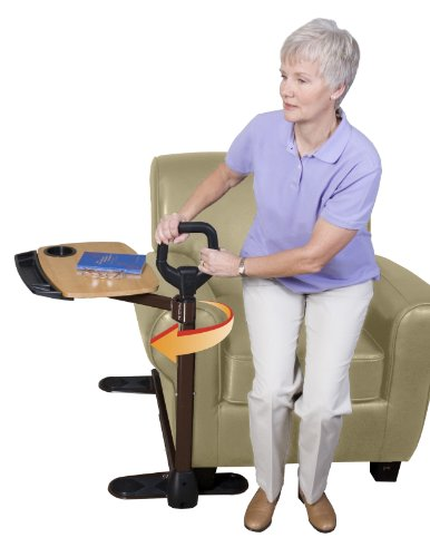 Able Life Able Tray Table, Adjustable Bamboo Swivel TV and Laptop Table with Ergonomic Stand Assist Safety Handle, Independent Living Aid