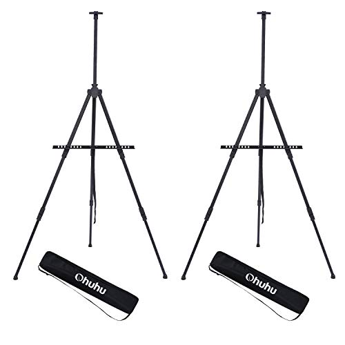 Display Easel Stand, Ohuhu 72' Aluminum Metal Tripod Field Easel with Bag for Table-Top/Floor, 2-Pack Black Art Easels W/ Adjustable Height from 25 - 72' for Poster, Displaying, Drawing