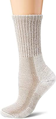 Thorlos Women's LTHW Light Hiking Thick Padded Crew Sock, Khaki, Medium