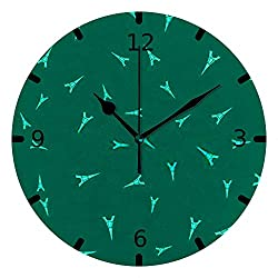 N / A Guitong Round Circle Digital Wall Clock-Silent PVC Hanging Clock Battery Operated Non-Ticking Oil Painting Kids Easy Read Hang Green Eiffel Tower Kitchen Bedroom Office Decor 9.8 inch