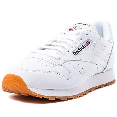 Reebok Classic Leather - Zapatillas de cuero para hombre, color blanco (white / gum 2), talla 42