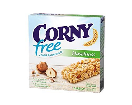Corny free Haselnuss, Müsliriegel OHNE Zuckerzusatz, 10er Pack (10 Schachteln mit je 6 Riegeln)