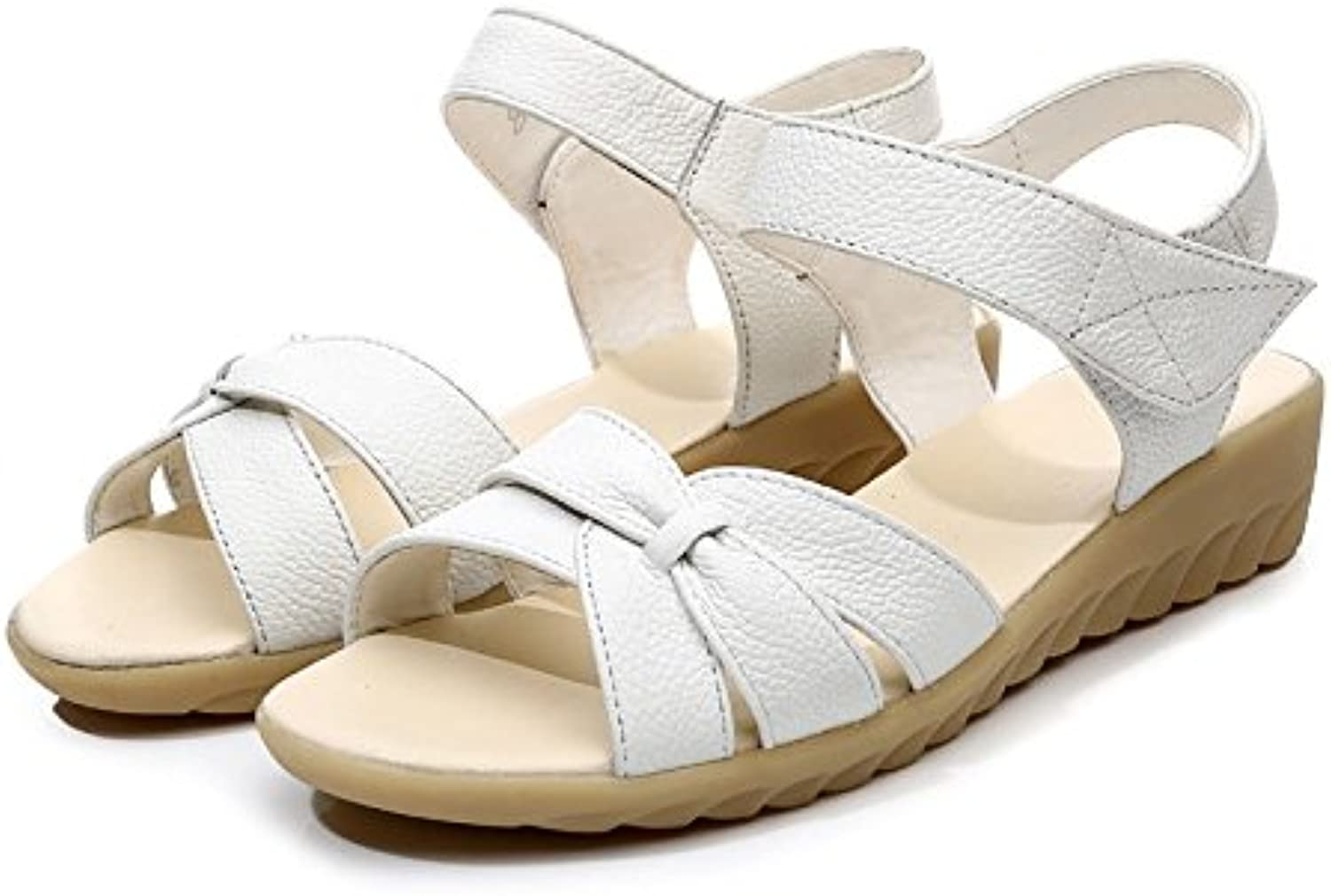 Dahanyi Stylish Plus Size Flat Summer Sandals for Women New Mother shoes Genuine Leather Nurse shoes Flat Maternity shoes Women Sandal