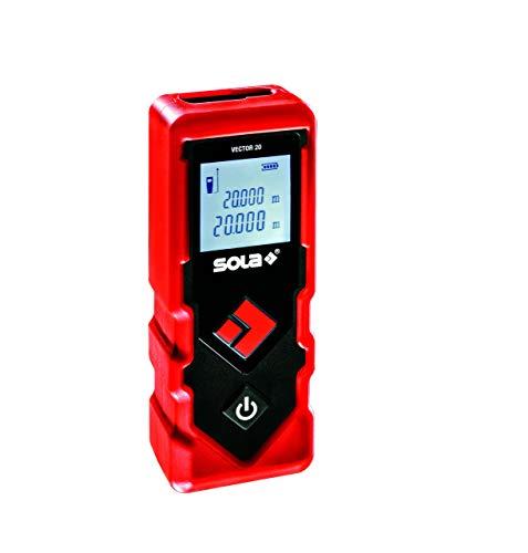 SOLA Vector 20 Laser-Entfernungsmesser 20 m - Laser-Messgerät für schnelle, unkomplizierte Messungen - einfacher und handlicher Distanzmesser - Laser Messgerät mit 2 Messfunktionen - IP42