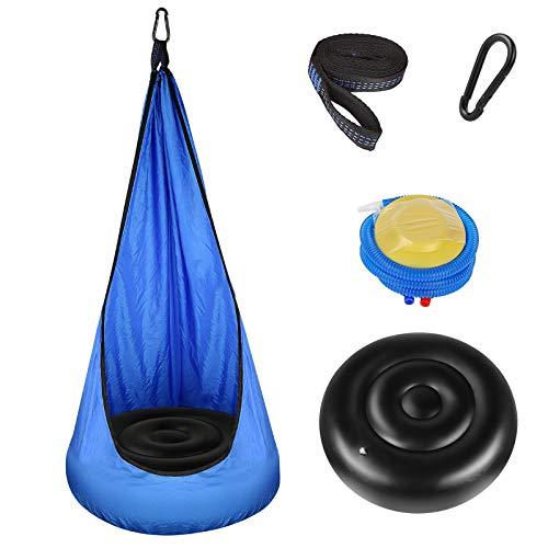 Sooair Poltrona sospesa per bambini per interni ed esterni, con cuscino gonfiabile, gancio pompa ad aria e corde, sedia pensile per bambini, girevole a 360°, per interni ed esterni, 140 x 70 cm (blu)